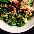 spinach, quinoa, and feta salad with dried cranberries