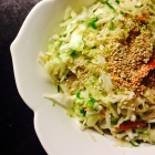 asian slaw with ginger, green onions, and sesame