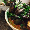 korean-style mussels in spicy broth