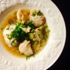 monkfish cheeks with sake, tamari and sesame