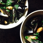 thai-style curry coconut mussels with lime and spinach