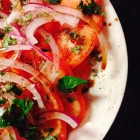fresh tomato and red onion salad