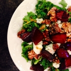 beet, walnut, and blue cheese kale salad