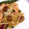 bowtie pasta with shrimp, olives, and rosemary