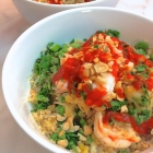 cauliflower fried rice with shrimp, egg, and green onion