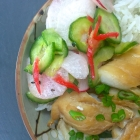 baked teriyaki fish with pickled vegetables