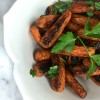 simple roasted carrots with sticky pomegranate glaze