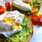 perfectly poached eggs on lemony avocado toast