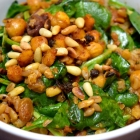 smoky chickpea farro salad with olives, capers, and pine nuts
