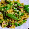 pasta primavera with peas, asparagus and mint