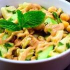 cucumber chickpea mint salad with hearts of palm