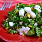 lemony kale quinoa salad with pepitas and goat cheese