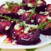 roasted plums with gorgonzola, honey and thyme