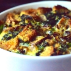 savory bread pudding with broccoli rabe and mushrooms