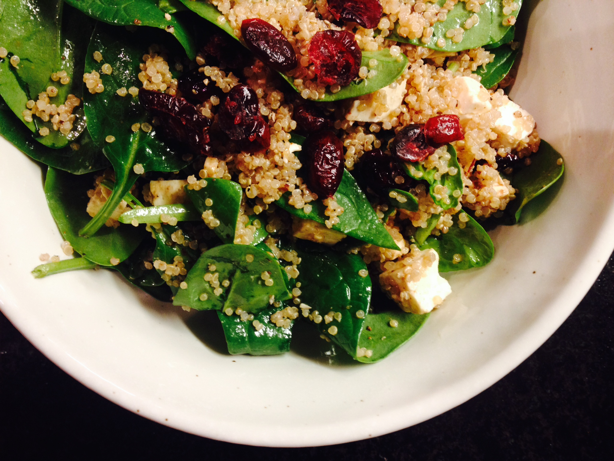 spinach, quinoa, and feta salad with dried cranberries | radish*rose
