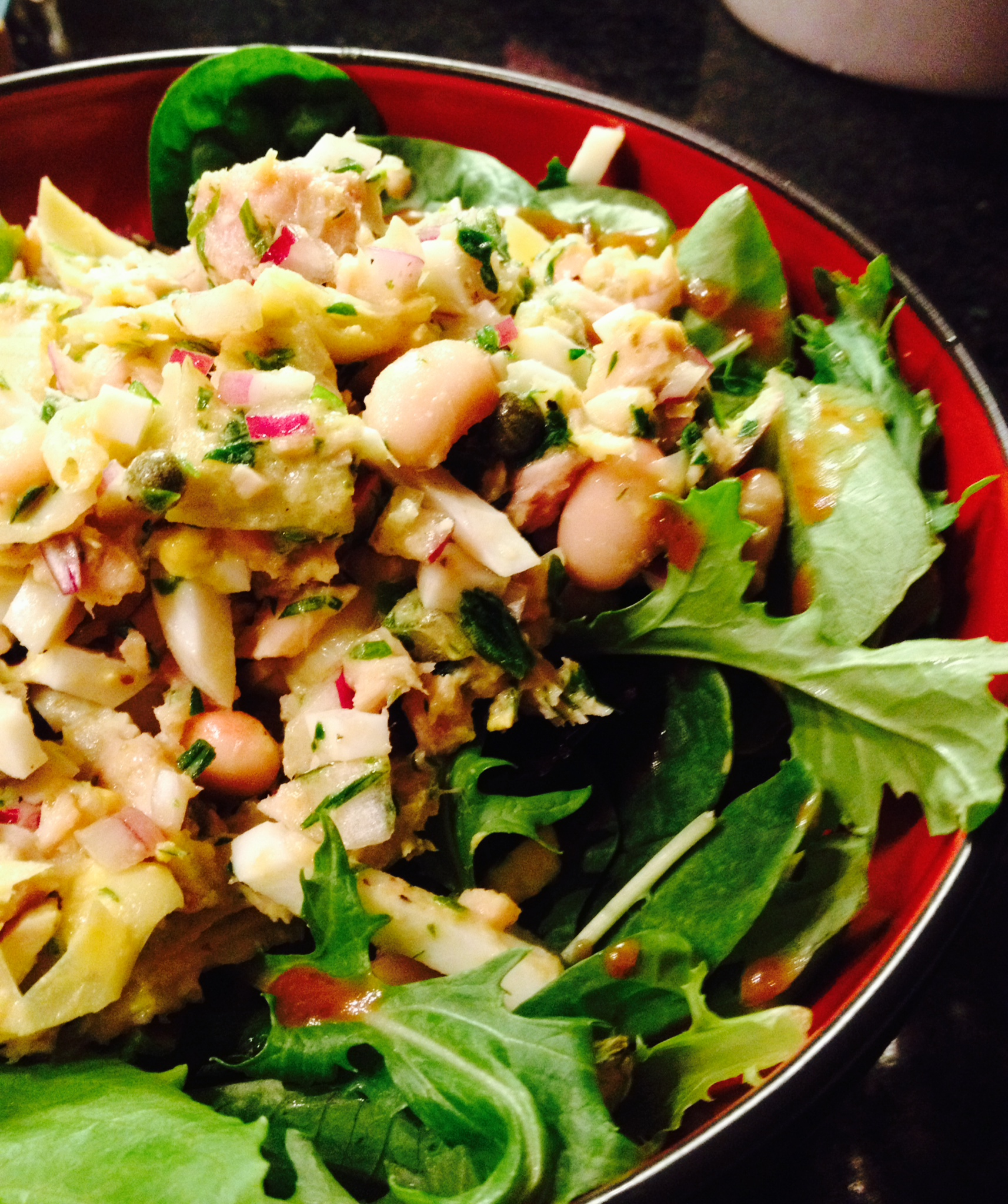 white bean, artichoke, tuna, and egg salad :: by radish*rose