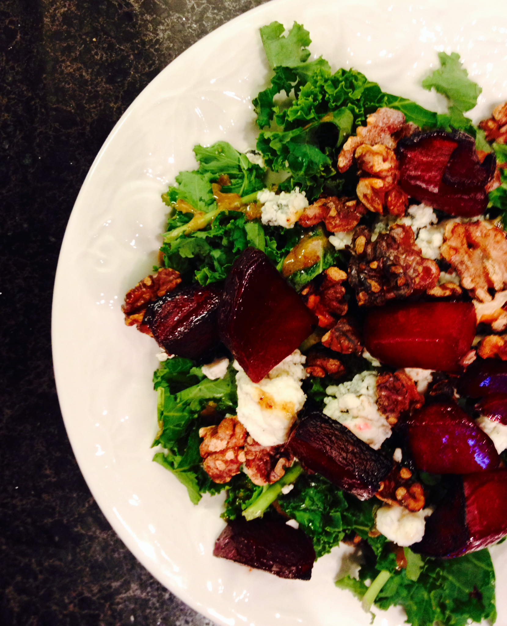 beet, walnut, and blue cheese kale salad :: by radish*rose