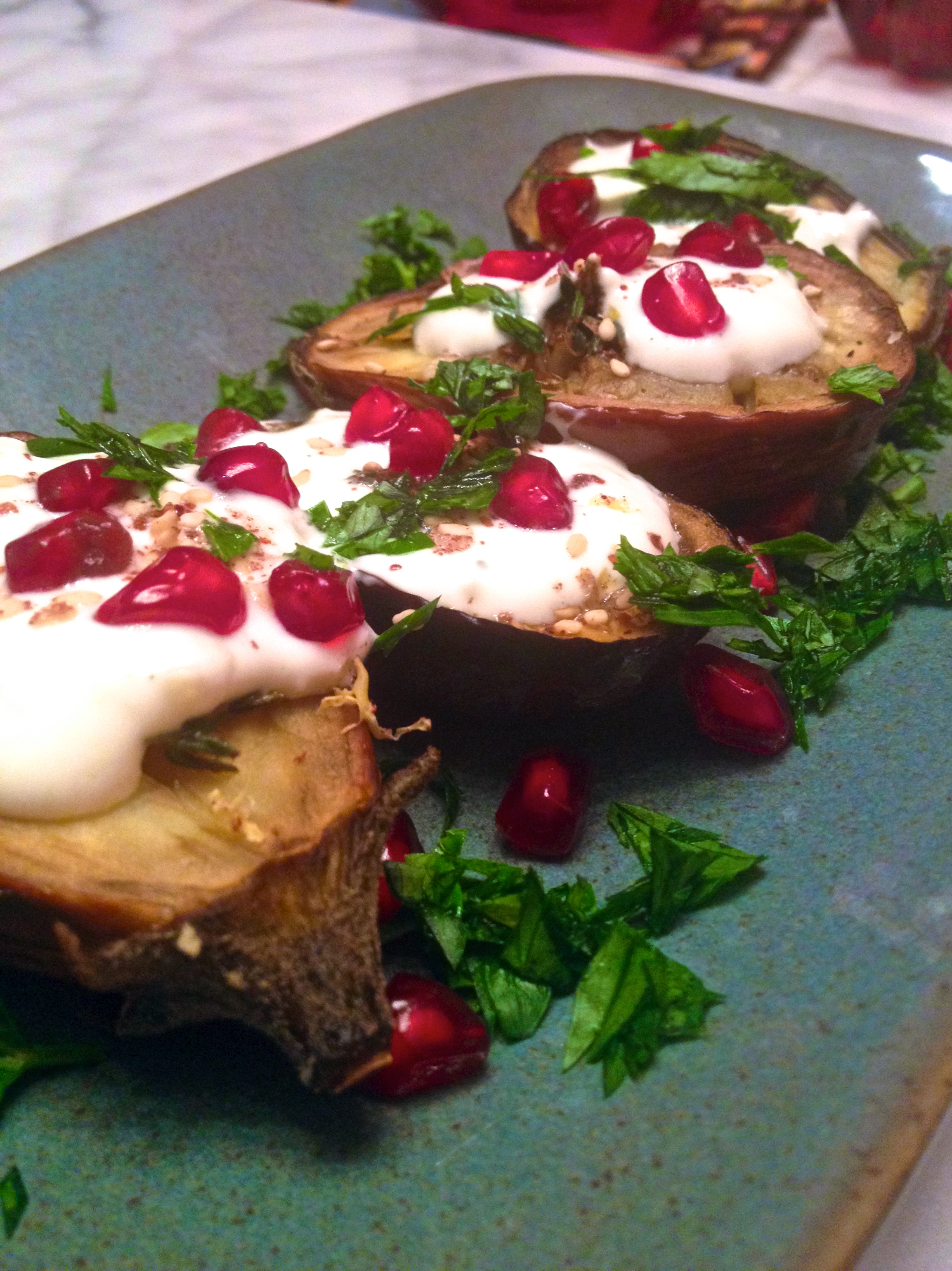 roasted eggplant with thyme, pomegranate, and garlic yogurt sauce :: by radish*rose