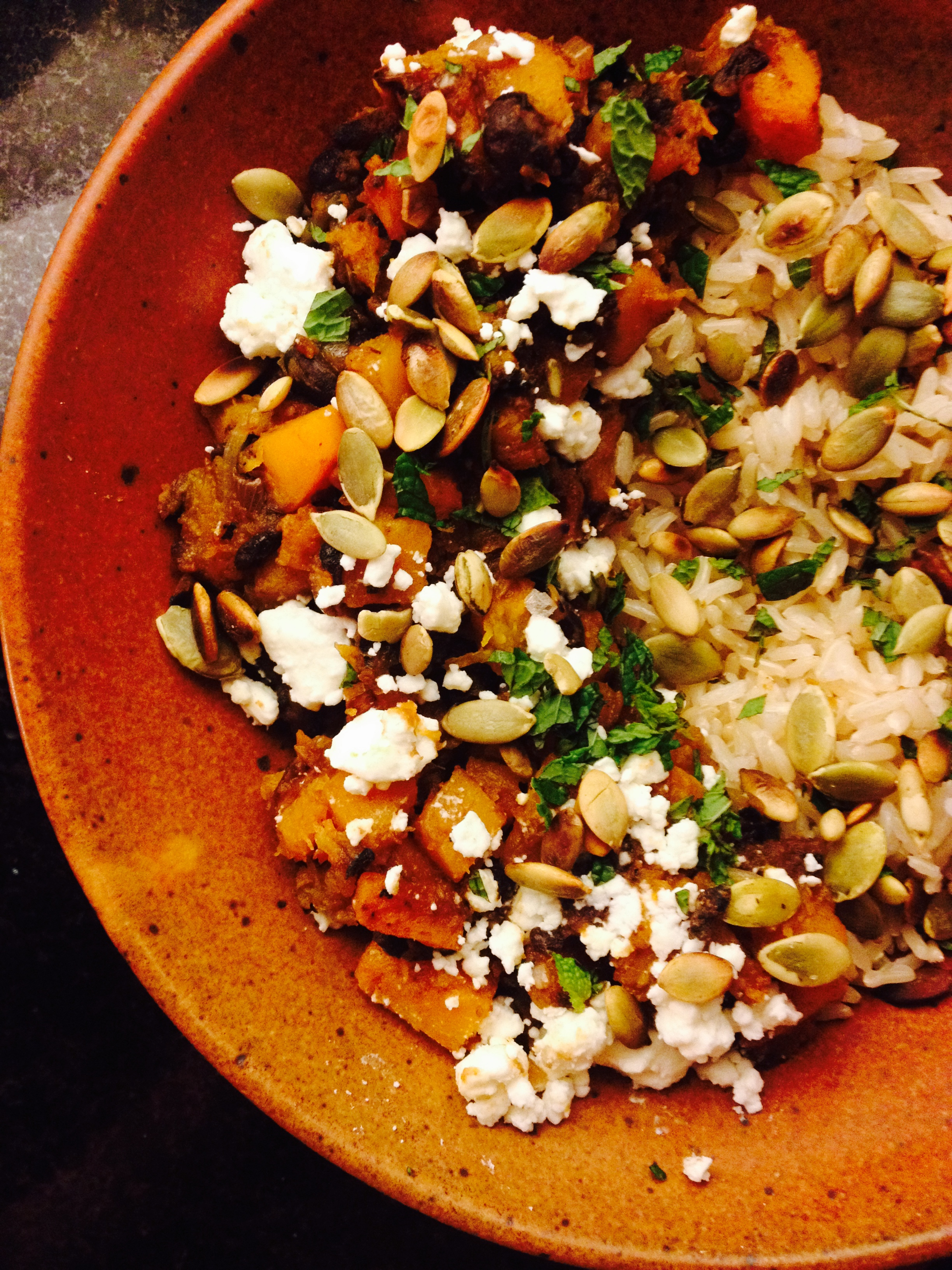 smoky butternut squash and black bean ragout with pepitas and feta :: by radish*rose