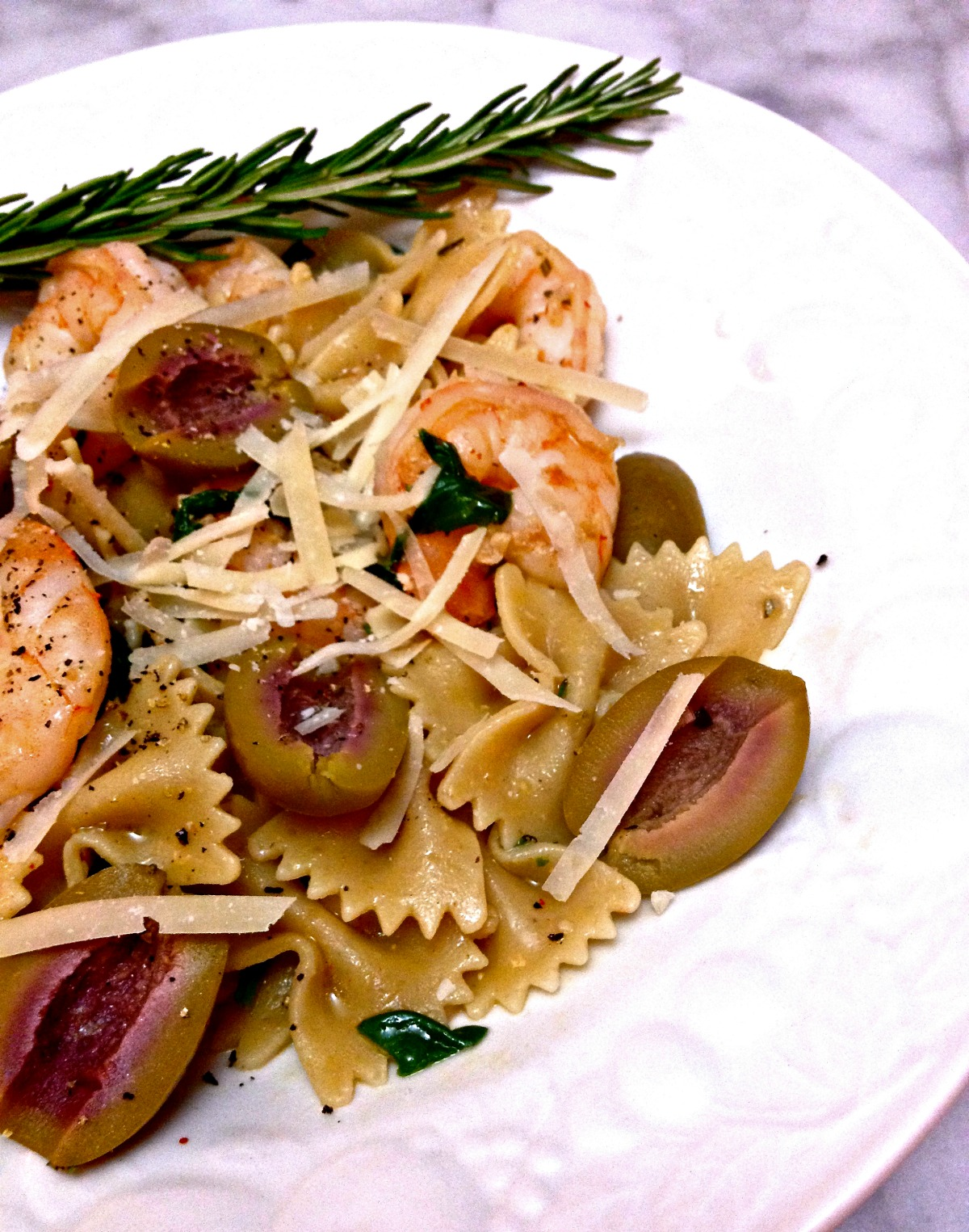 bowtie pasta with shrimp, olives, and rosemary :: by radish*rose