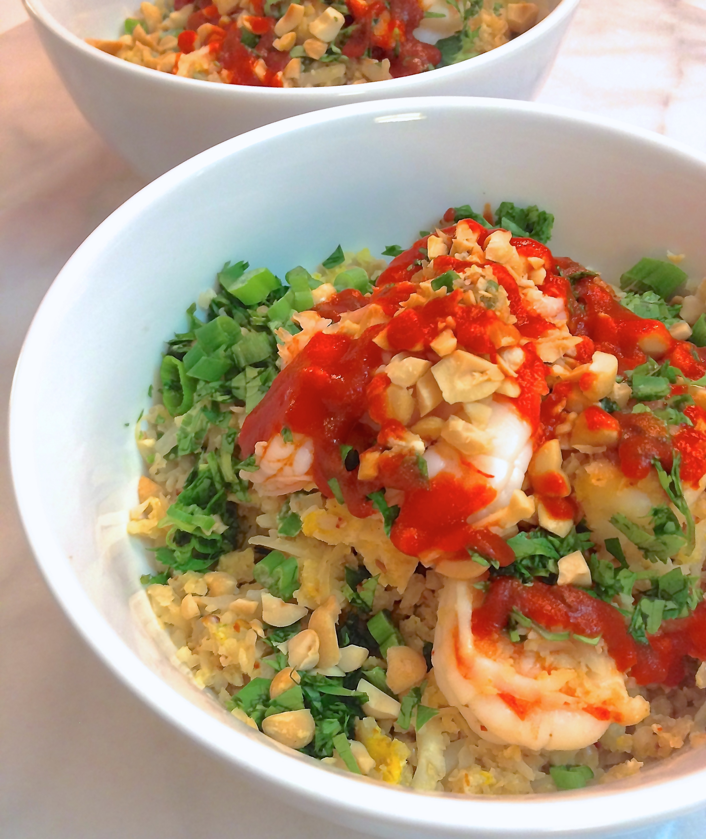 cauliflower fried rice with shrimp, egg, and green onion :: by radish*rose