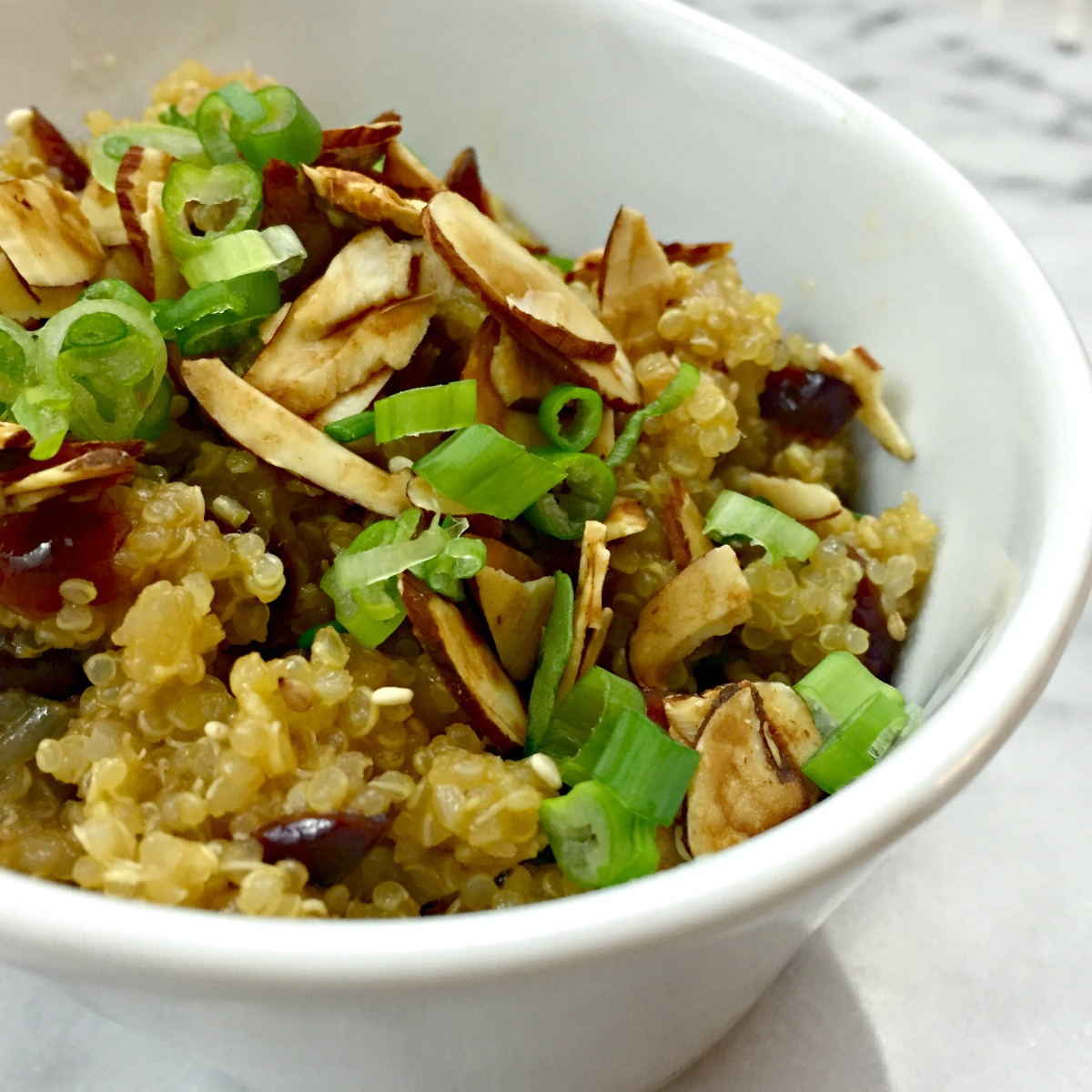 savory quinoa with toasted almonds and dried cranberries :: by radish*rose