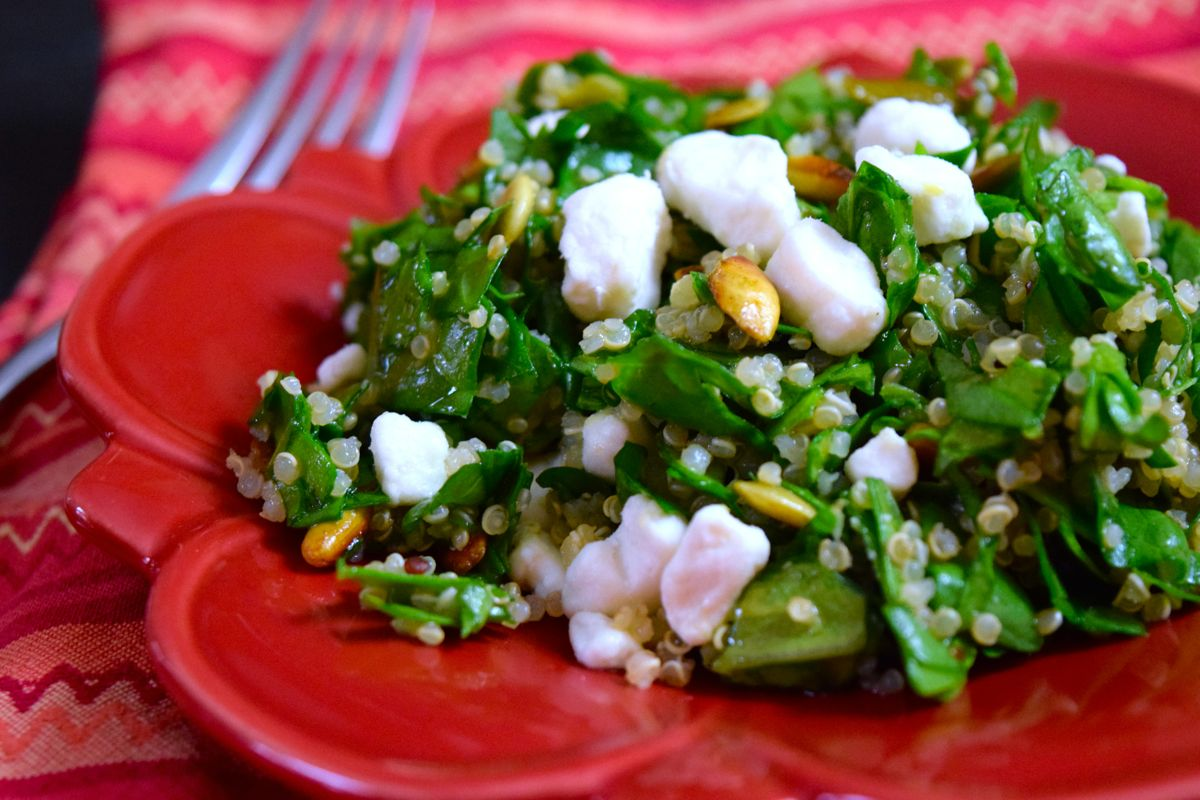 lemony quinoa kale salad with pepitas and goat cheese :: by radish*rose