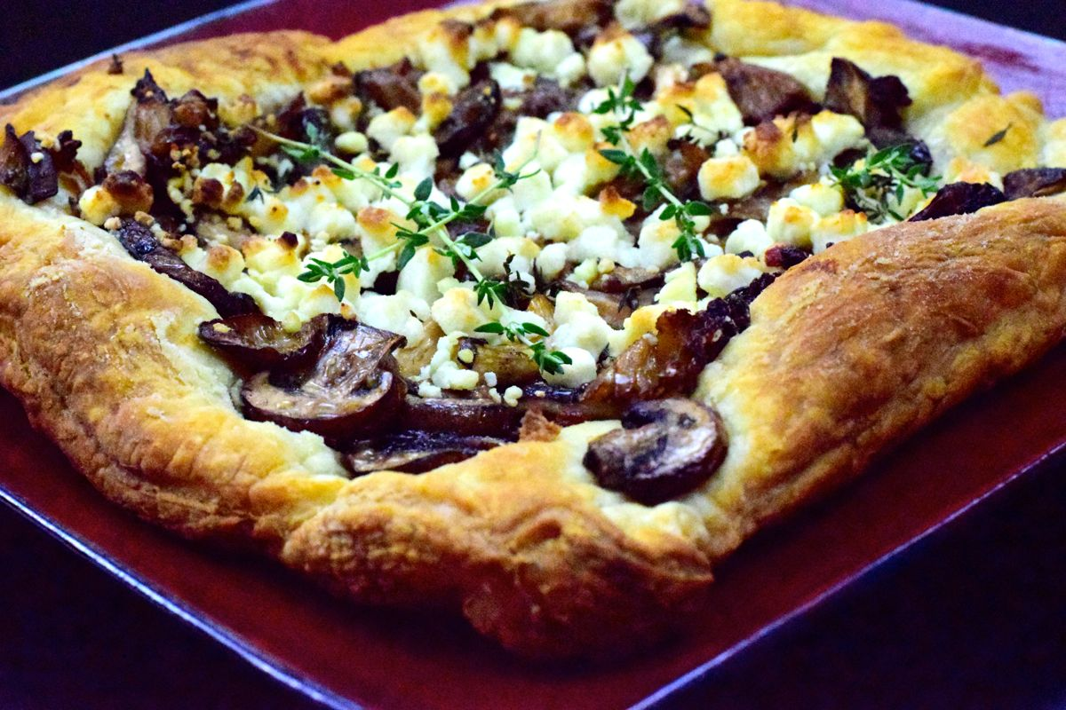 flaky mushroom goat cheese tart with truffle and thyme :: by radish*rose