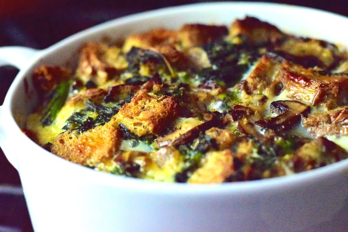 savory bread pudding with broccoli rabe and mushrooms | radish*rose